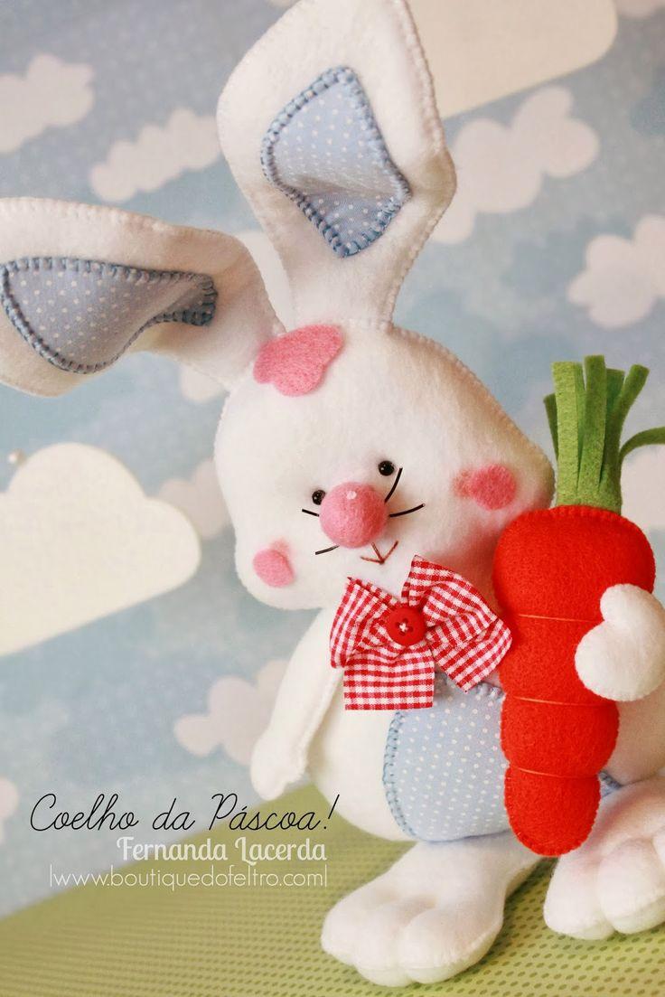 Faça o download gratuitamente do Passo a Passo e molde deste coelho fofo que criei. É só acessar: www.boutiquedofeltro.com