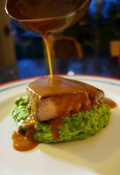 Seared Tuna with a Soy and Wasabi Glaze atop Mint & Pea Puree - The Londoner. Made this tonight for company. Simple & Delicious! (& very filling)
