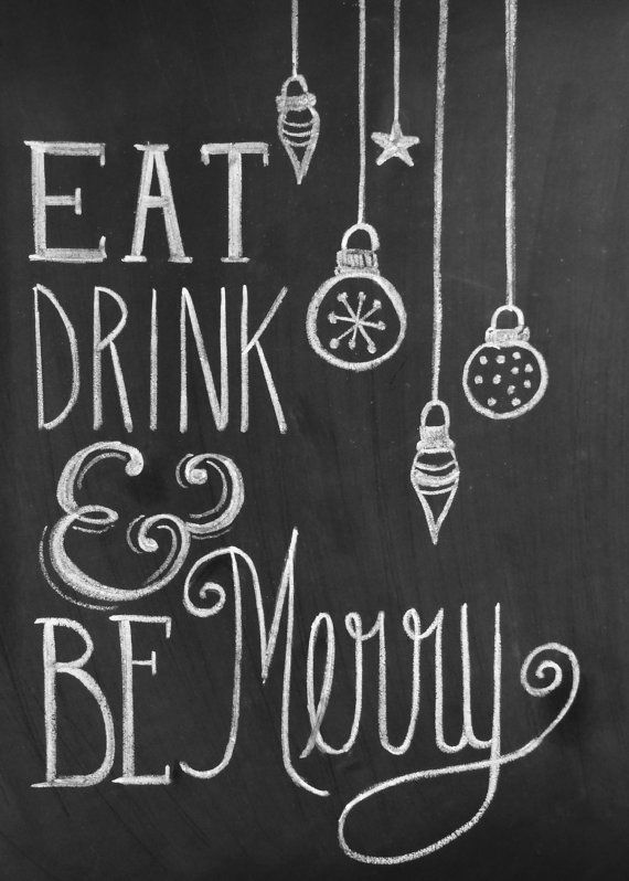 Chalkboard Christmas Card  Eat Drink Be Merry  by LilyandVal, 19.00