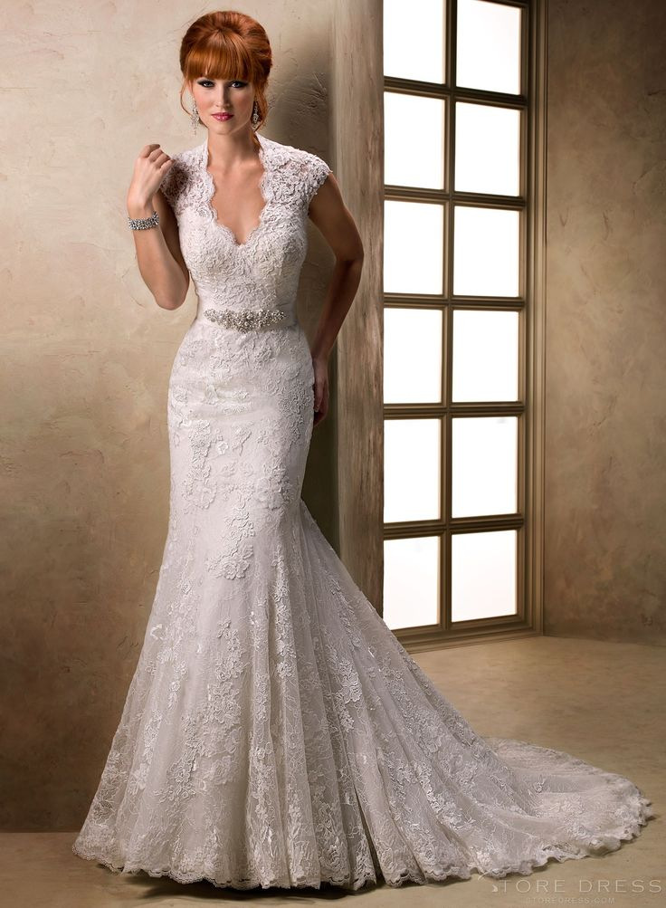 Maggie Bridal By Sottero A Distinct Scalloped Illusion V Neckline And Cap Sleeve Bodice Create An Allure About This Gown That Draws One In Lace