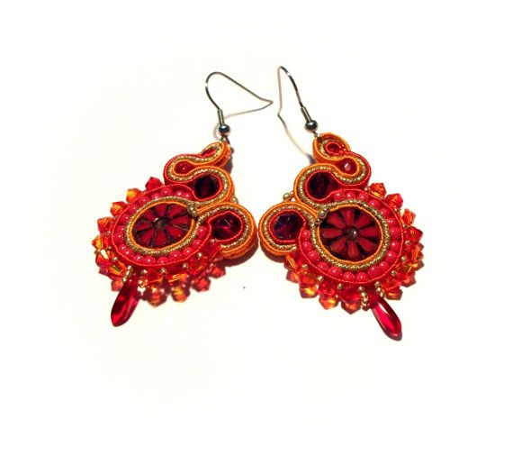 Orange red gold soutache earrings  Sutasz Stainless by KicsiYu