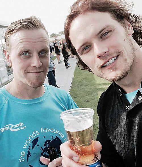 """outlander-news: """" Sam and Cirdan Heughan at the Great North Run   Sept. 11, 2016 """""""