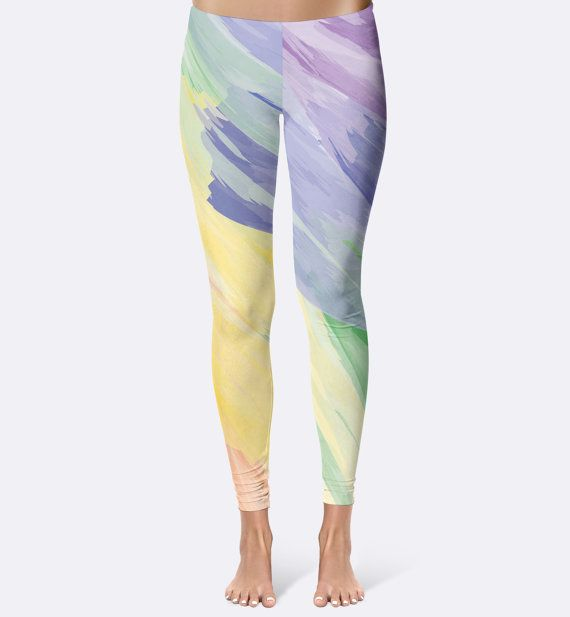 """Athletic Leggings // Fitness Leggings // Running Leggings // Yoga Leggings // Printed Leggings // Womens Leggings // Teen // Watercolor  """"Count your rainbows, not your thunderstorms."""" Alyssa Knight  Stylish, durable, and a hot fashion staple. These polyester/spandex leggings are made of a comfortable microfiber yarn, and theyll never lose their stretch.  • Fabric is 82% polyester, 18% spandex • Four-way stretch • Elast..."""
