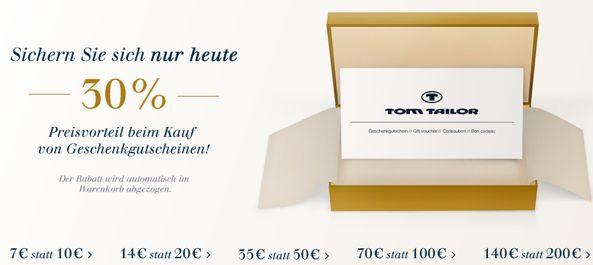 Genial - 30% Rabatt auf Tom Tailor Guthaben Karten – auch kaufbar mit Gutscheinen *UPDATE* - myDealZ.de