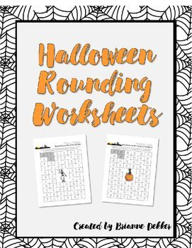 Halloween Rounding Worksheets // I found this idea in an old workbook and decided to put my own spin on it. One page has rounding to the nearest ten and the other has rounding to the nearest hundred. Great (and fun!) rounding review with a Halloween theme. This can be used as homework, spiral review, or even as a game during math centers.