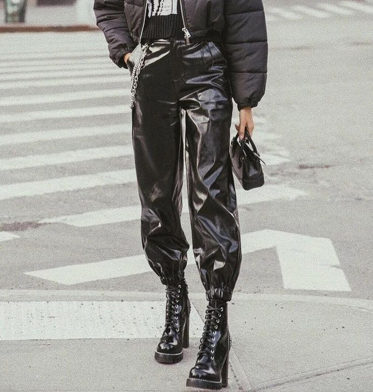 Glossy patent pu leather zipper cool harem jogger loose