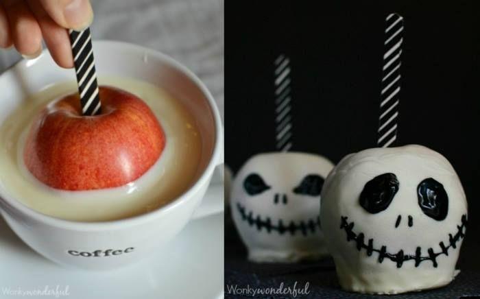Ihr nehmt einen Eisstiel und steckt ihn in einen Apfel. Anschließend taucht ihr den Apfel in weiße Schokolade, lasst ihn trocknen und bemahlt ihn mit Gelfarbe (▶Wilton Gelfarben im Spar-Set (8 x 28 g) ). Diese lässt sich wunderbar verarbeiten Viel Spaß...