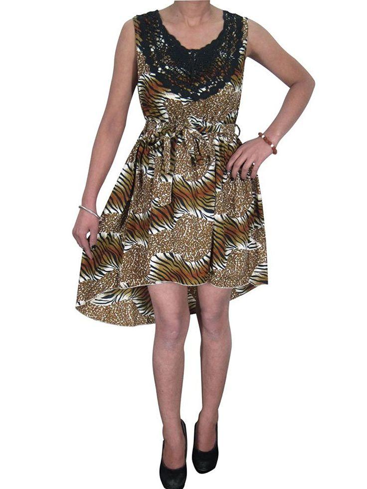 Bohemian Women's SEXY Dress Crochet Neck Tiger Printed Gypsy Dresses XS: Amazon.ca: Clothing & Accessories