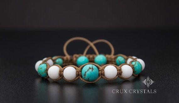 Turquoise Natural Stone Shamballa Bracelet Crux by CruxCrystals