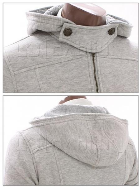 Casual Zip Hoodie Jacket (Grey) - Rockdenim - $399nok