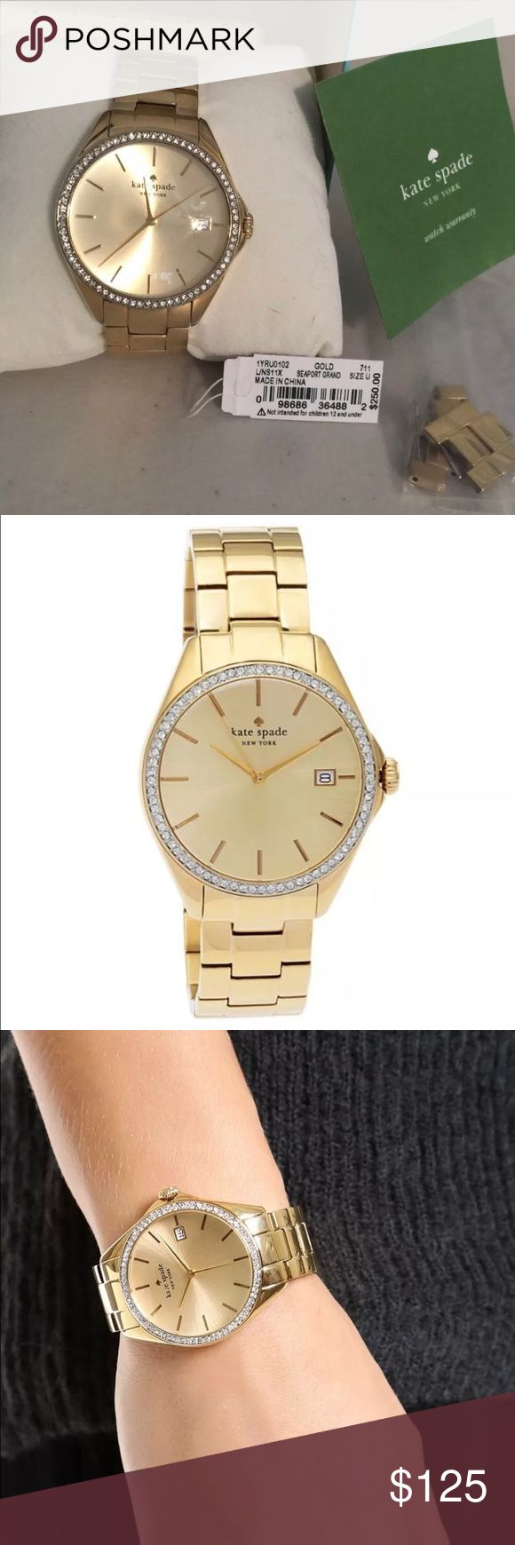 Kate Spade Seaport Grand Gold Watch With Crystals EUC! Minor scratch on face around 5, please see photo. Kate Spade Seaport Grand gold tone watch with Crystals kate spade Accessories Watches