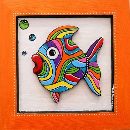 """Tableau de """"Bidule"""" le petit poisson coloré, par sylphide. J'adore !"""