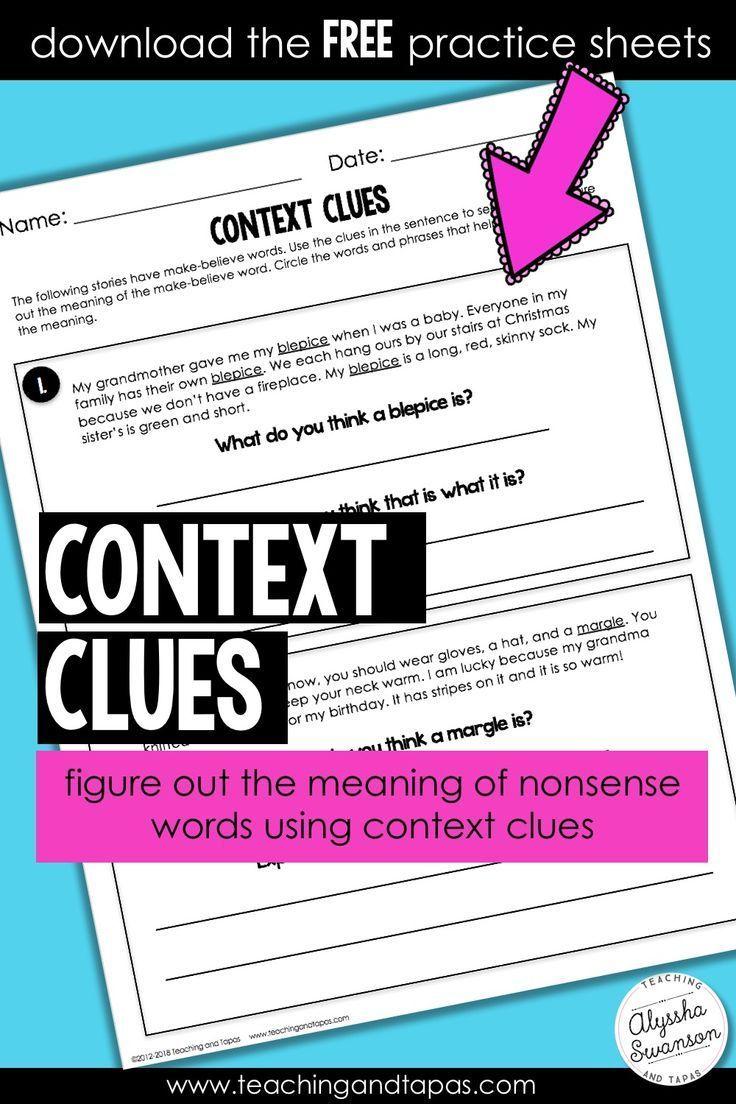 Context Clues Freebie Nonsense Words Context Clues Context Clues Worksheets Reading context clues worksheets