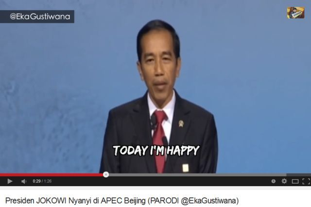 Screenshot video parodi Presiden JOKOWI Nyanyi di APEC Beijing (Youtube/EkaGustiwana)
