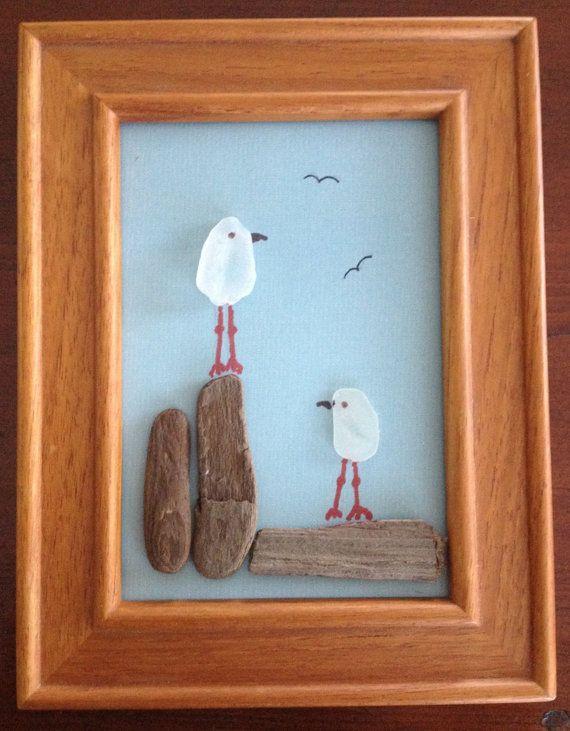Seaglass Seagulls on Driftwood Perches- adorable baby gift for the lover of the sea. Makana o ke Kai.