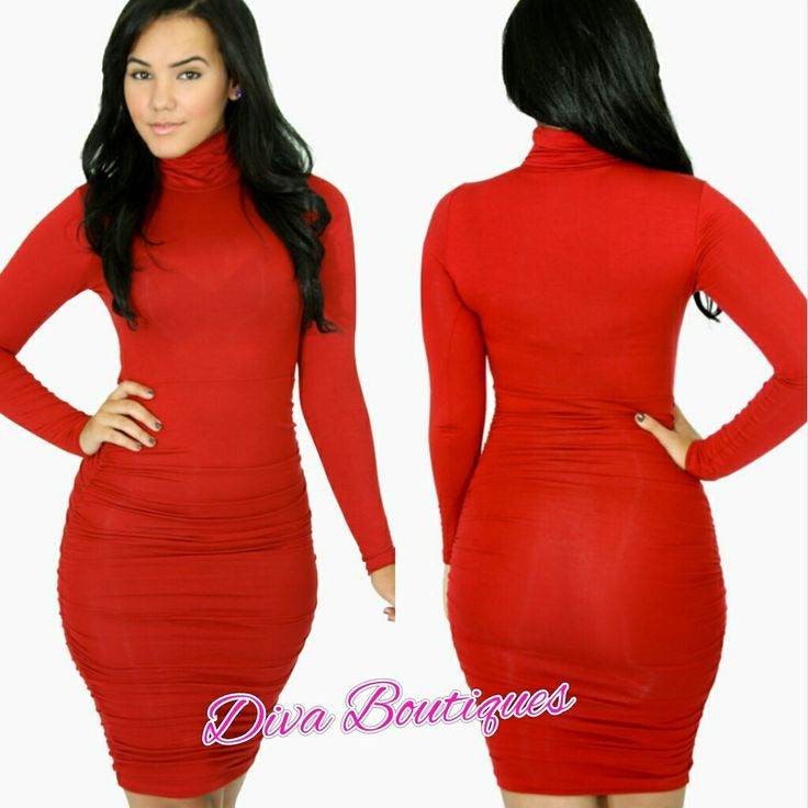 Diva Boutiques - Fire Red Turtleneck Bodycon Dress $26.99 (http ...