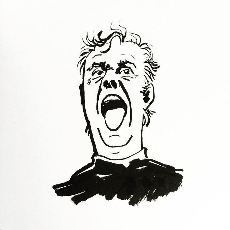 Dario Fo by Jon Skraentskov Ink on paper 2016 #illustration #dariofo
