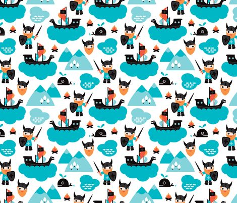 Scandinavian vikings and pirate ship illustration pattern fabric by littlesmilemakers on Spoonflower - custom fabric
