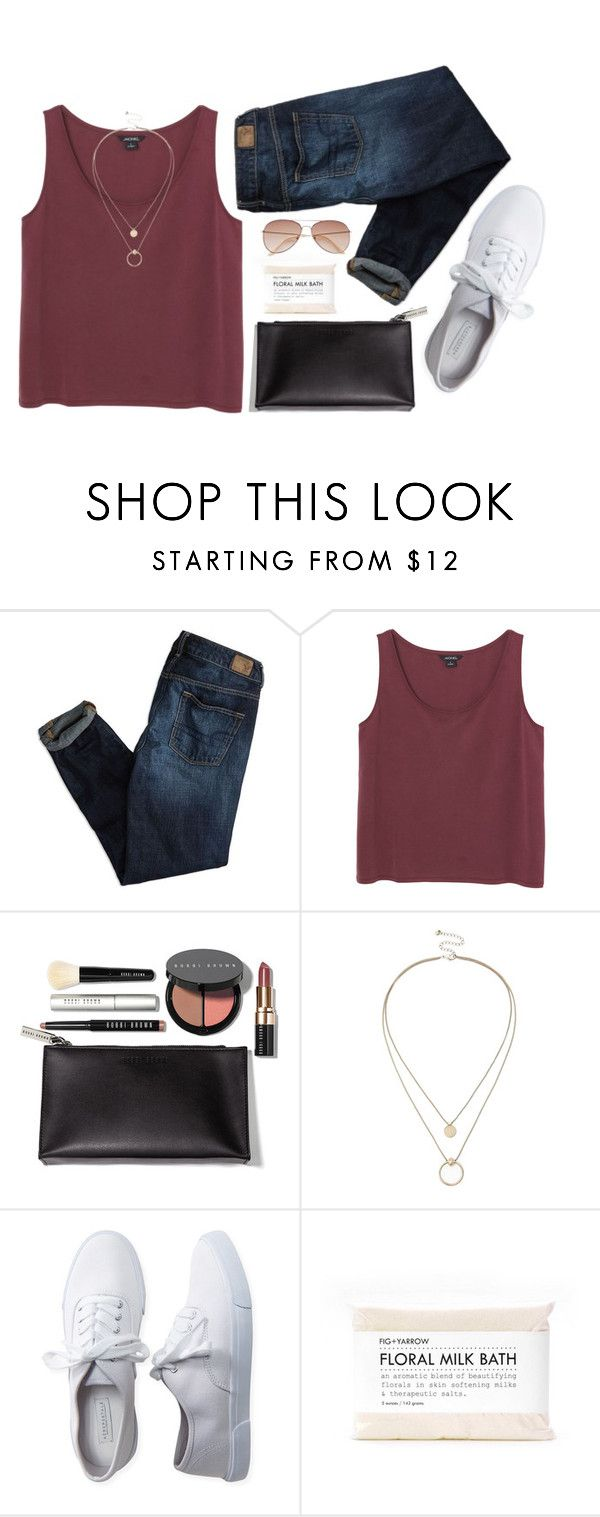 """""""Jeanine Amapola Inspiration"""" by annarodgers ❤ liked on Polyvore featuring American Eagle Outfitters, Monki, Bobbi Brown Cosmetics, Sole Society, Aéropostale, Fig+Yarrow and H&M"""
