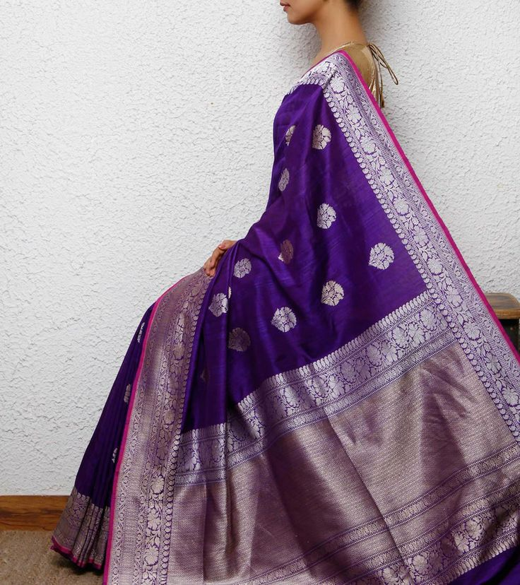 Purple Silk Handwoven Saree