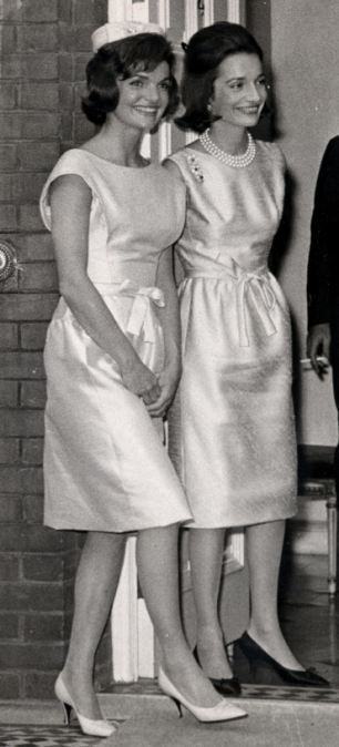 American Royalty: Mr Canfield went on to marry Lee Bouvier (right)- younger sister of Jackie Kennedy (left)