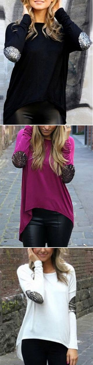The Easy Does It Top is made in black, white and purple and feature sequins stitched at arm and high low design. We love it with leggings to make a street fashion.