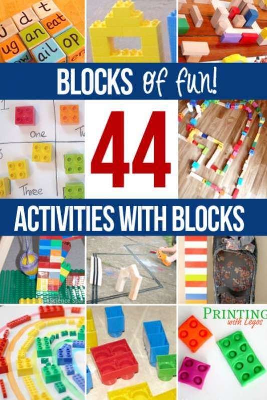 Blocks of Fun! 44 Block Activities for Preschoolers | I've included 18 ideas for the simple wooden blocks, 17 activities for Legos (also includes Duplo or Mega Blocks), 4 learning activities for the ABC blocks, and I couldn't leave out ideas to build with your blocks, so there's 5 building activities for the kids as well.