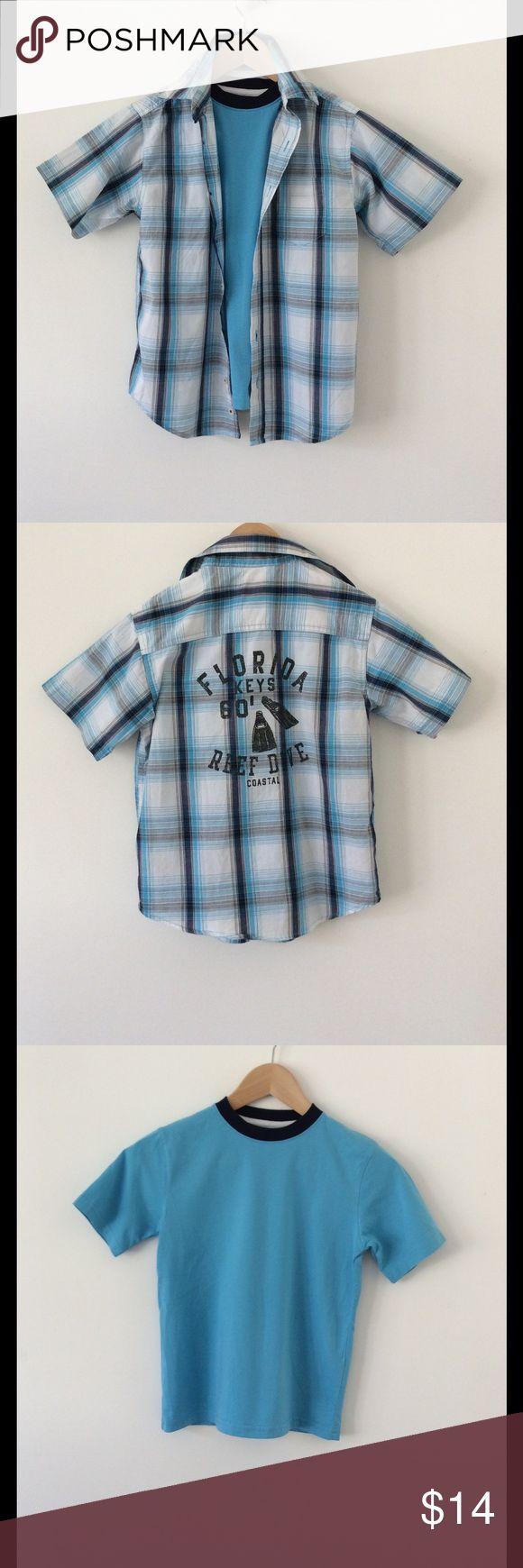 "Boys Layered Shirt Set - Size M (8) Nice layered look! Back of plaid shirt reads:  Florida Keys 80' Reef Dive Coastal...T Shirt: Length: 20"" (shoulder to hem) Width: 15"" (underarm to underarm) Shirt: Length: 21"" (shoulder to hem) Width: 17"" (underarm to underarm) Both 100% Cotton Faded Glory Shirts & Tops Button Down Shirts"