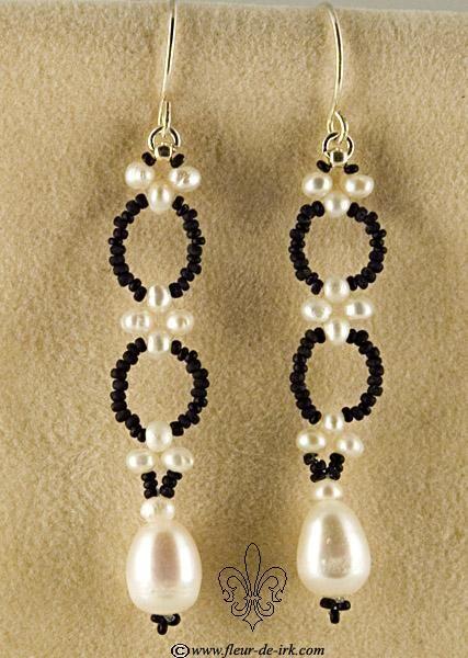 Filigree black-n-white earring by Fleur-de-Irk.deviantart.com