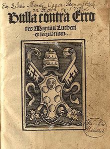 Q) Title page of  1st  printed edition of Exsurge Domine. On 15 June 1520, the Pope warned Luther with a papal bull Exsurge Domine that he risked excommunication unless he recanted 41 sentences drawn from his writings, including the Ninety-five Theses, within 60 days. That autumn, Johann Eck proclaimed the bull in Meissen and other towns.  Luther publicly set fire to the bull at Wittenberg on 10 December 1520. As a consequence, Luther was excommunicated by Pope Leo X on 3 January 1521