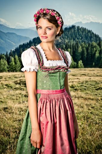 Pink and green dirndl