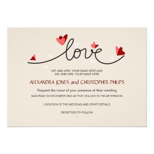 "In #Love #Simple #Elegant #Text #Wedding 5"" X 7"" #Invitation Card"