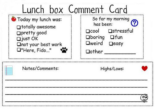 adorable lunch box comment card  free download and