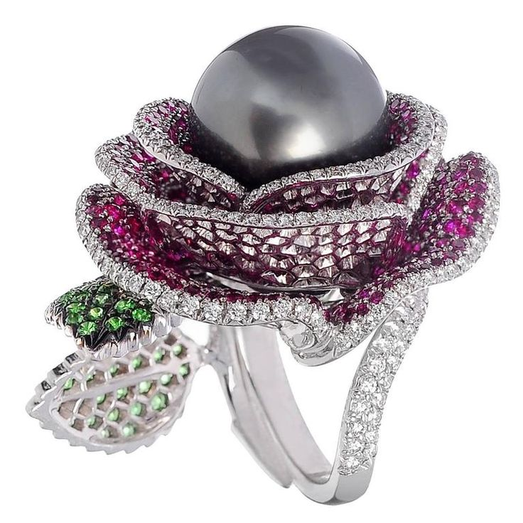 K. Infiore Missbach Ring, Tahiti Pearl, Rubies, Diamonds, Tsavorites and White Gold | From a unique collection of vintage cocktail rings at https://www.1stdibs.com/jewelry/rings/cocktail-rings/