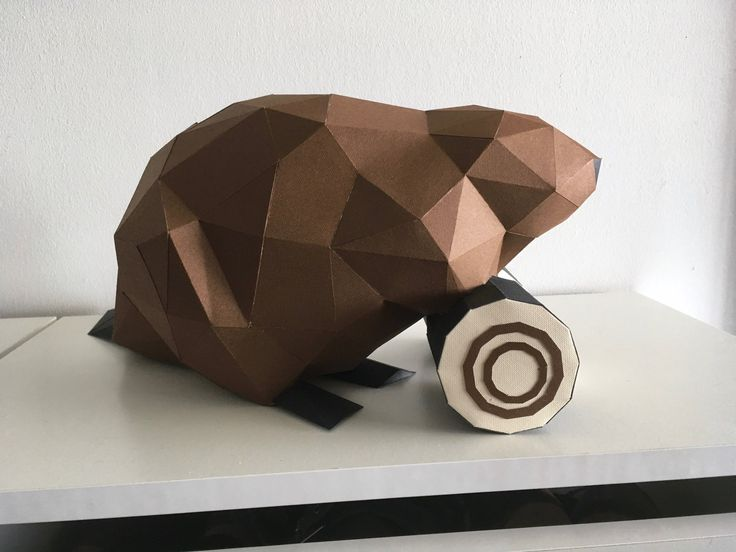 Geometric DIY beaver. Pre-cut/pre-score paper kit.