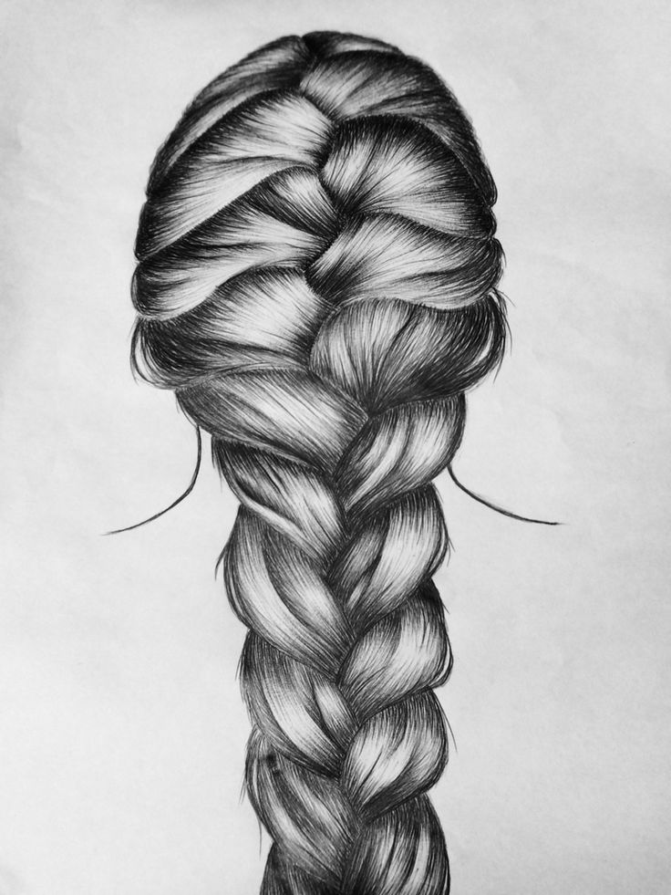 french braid pen drawing