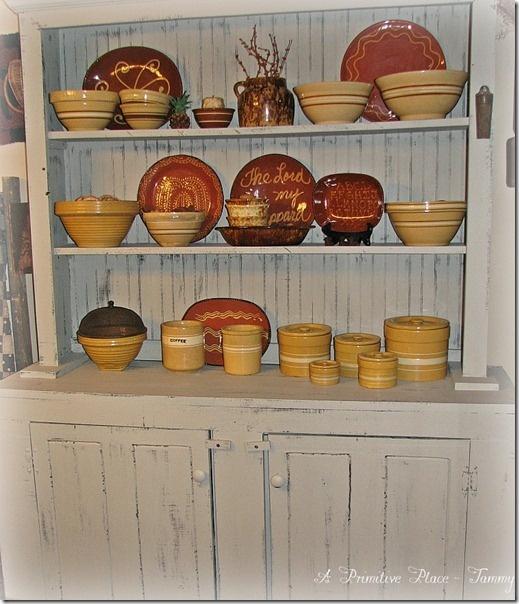 A Primitive Place ~ Tammy Redware Yellow Ware Primitive Farmhouse