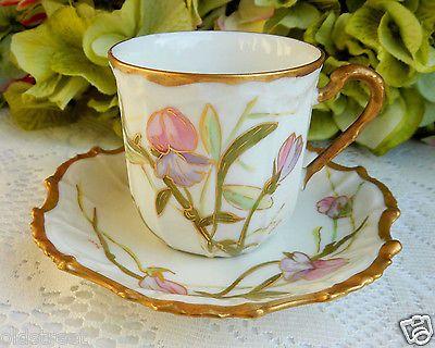 4-Antique-Limoges-Porcelain-Cups-amp-Saucers-Hand-Painted-Artist-Signed-Gold-Gilt