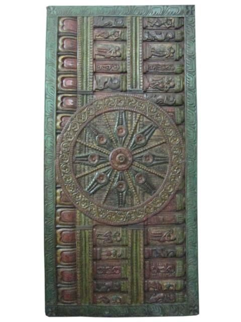 Sun Temple Konark Wheel Indian Carving Decorative Door Headboard