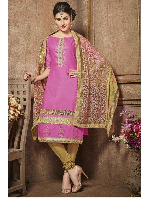 Out standing Pink Embroidered Salwar Kameez