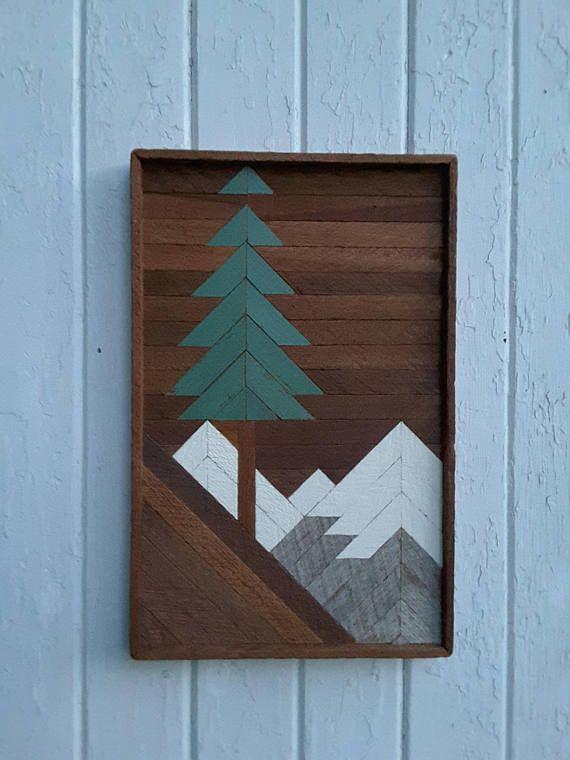 Arte della parete di legno recuperato scena dell'albero