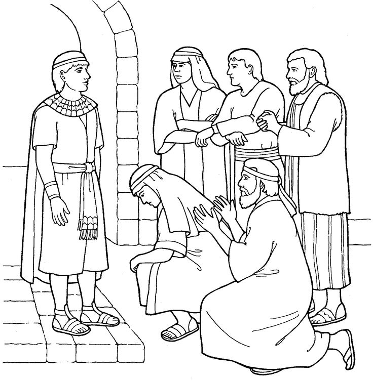 Joseph forgives his brothers primary coloring page from for Joseph in jail coloring page