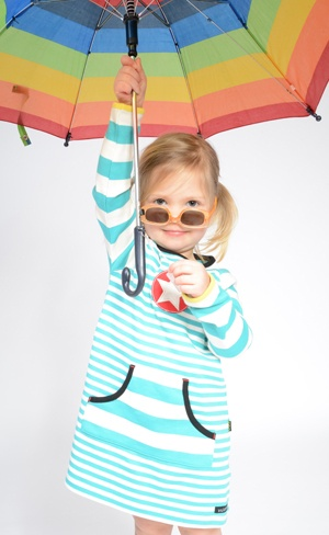 Beautiful Villervalla organic cotton long sleeve striped dress in pool blue, perfect for the British weather accessorised with sunnies and a brolly!