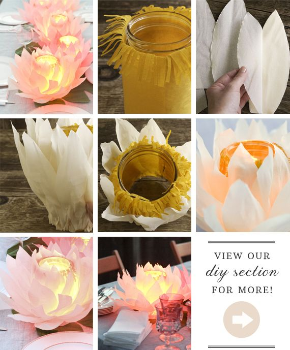 DIY paper flower votives | Project by Smile Mercantile | 100 Layer Cake