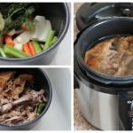 Pressure Cooker Sirloin Tips in Gravy...  5 lb. Sirloin Tip Roast, cubed,2 - 4 T. vegetable oil,1 Onion, diced,2 c. Beef Broth,1/2 c. Flour,1 1/2 cup Water,Add When all the meat is browned, put meat,onion and beef broth in pot, cover and lock lid in place. Select High Pressure and 15 min. cook time. (It will take about 15 min. to pressure up and another 20 min. for a Natural Pressure release.)