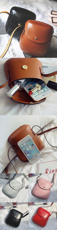 [$ 12.26]  Women PU Leather Mini Crossbody bag Bucket Bag Phone Bag