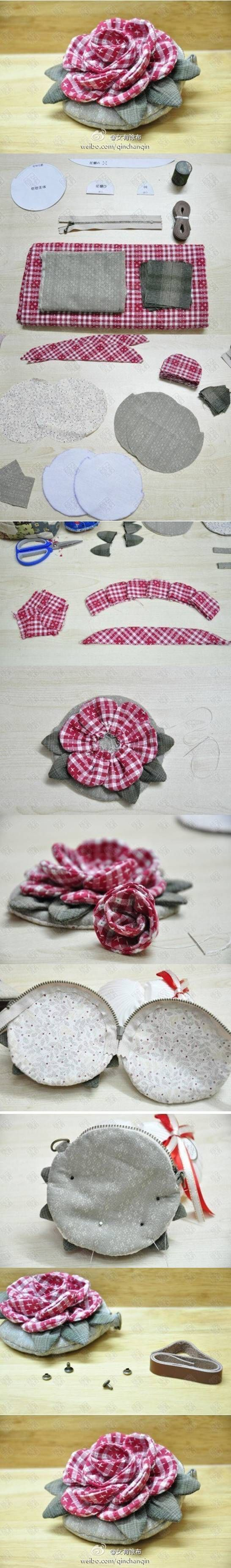 El monedero con la flor de proyectos de bricolaje