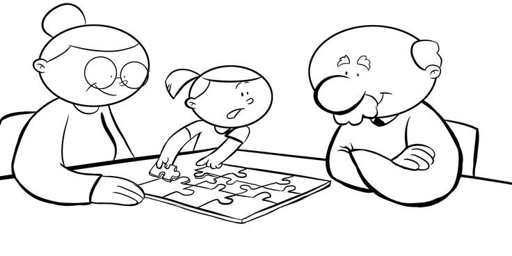 Dibujos con niños: Colorear abuelos haciendo un puzzle con su nieta