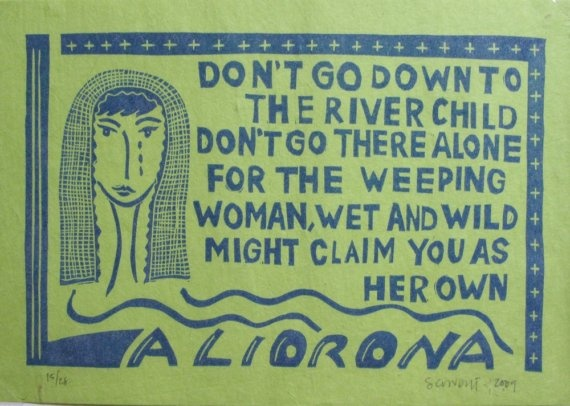 SALE La Llorona Weeping Woman Linocut letterpress by LALAdexPRESS, $10.00