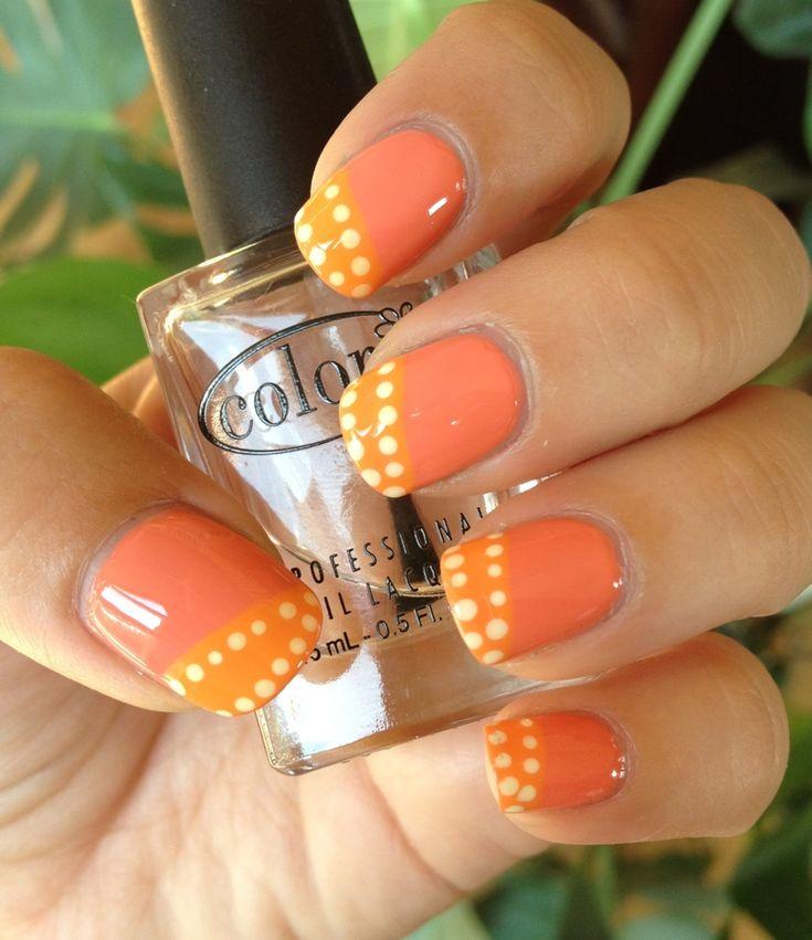 Peachy Orange Sorbet Nail Art